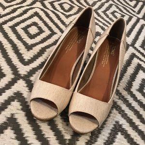 womens TOMS tan colored Stella peep toe wedges